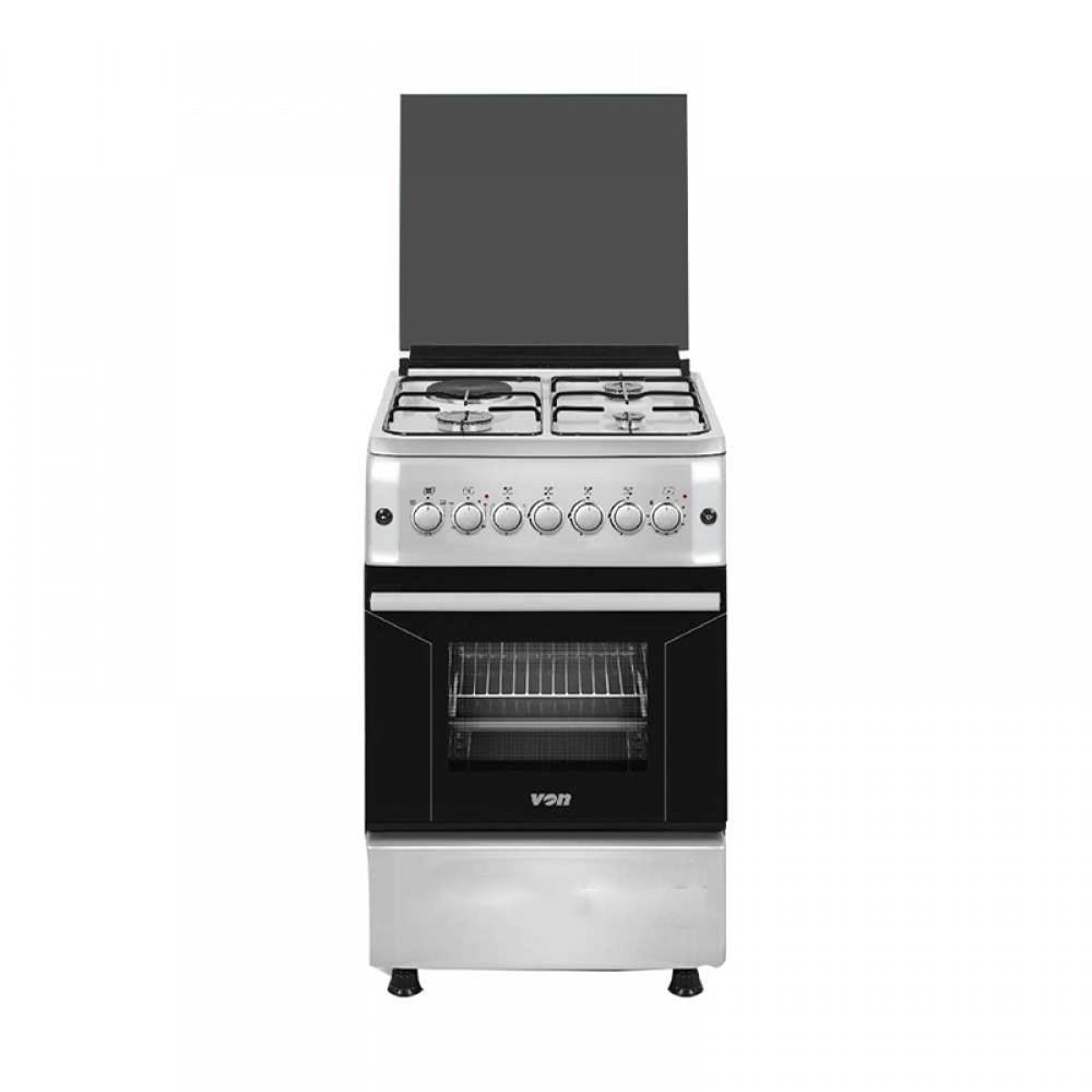 Von Hotpoint Cooker 50x60 Electric Oven 4 Gas Burner Tanzania (Silver, F5S40E2.E.S)
