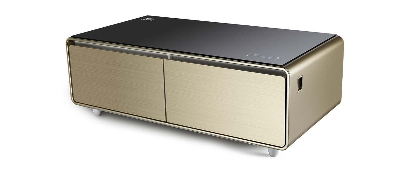 evvoli Smart Touch Table With Two Refrigerating Doors Tanzania (EVRFS-130L, Gold)