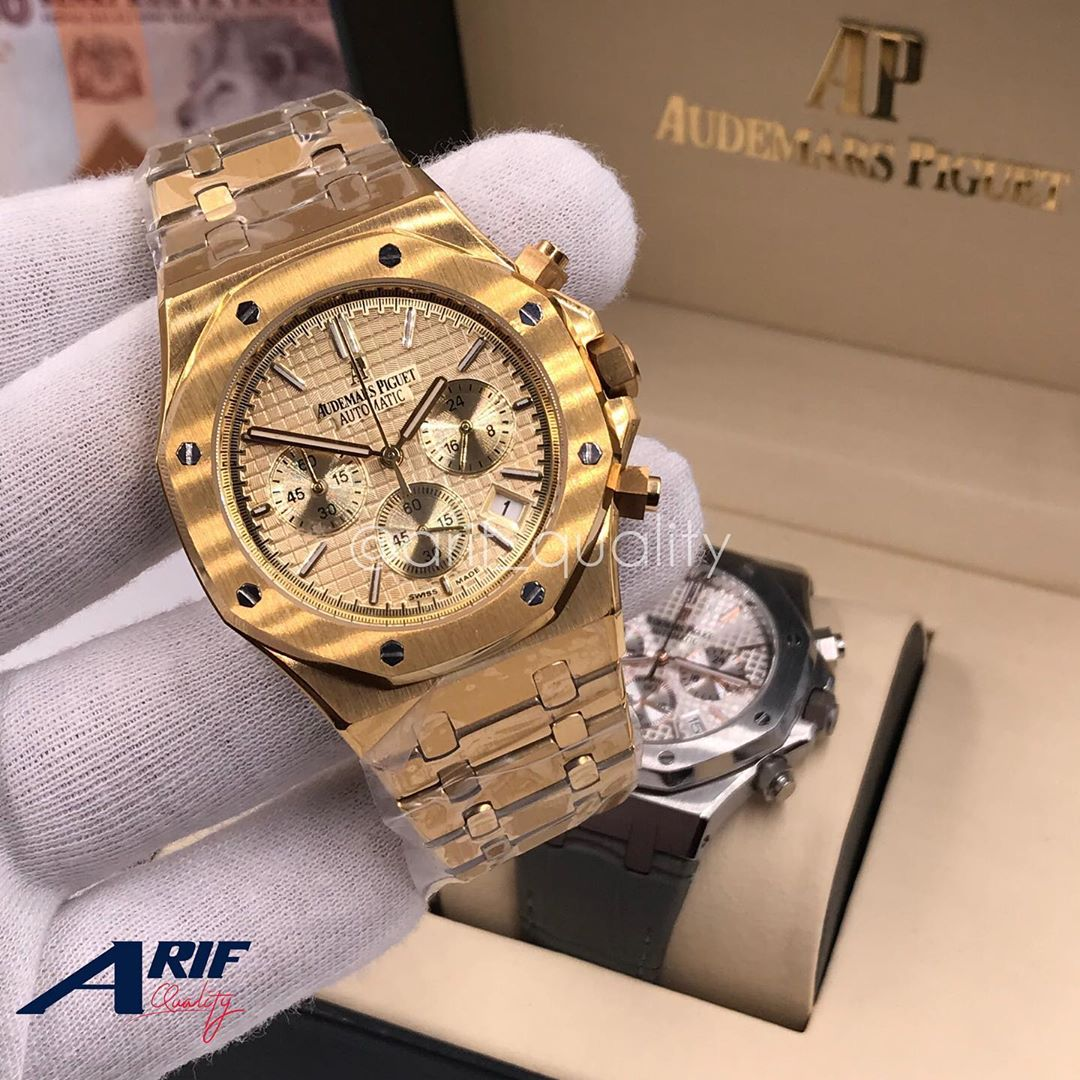 AUDEMARS PIGUET WATCH TANZANIA (GOLD COLOR SKELETON WITH GOLDEN STRAPS)