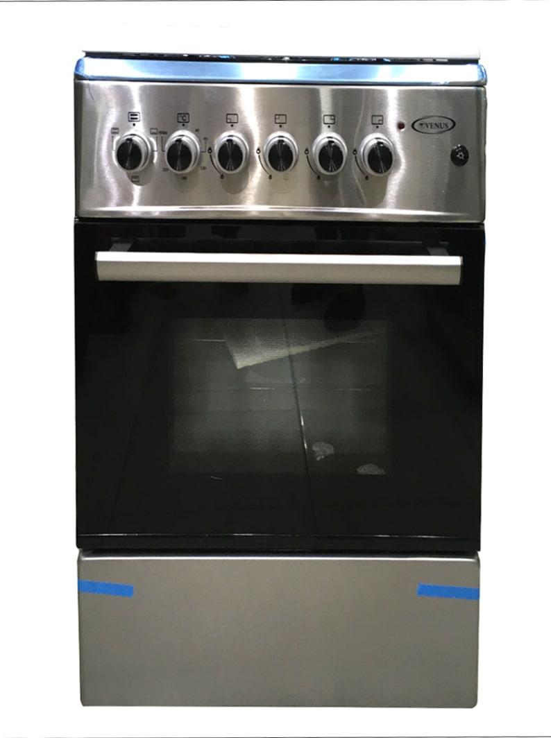Venus Full Gas Burners Cooker 58x58, Electric Oven Tanzania(Inox, VC6606ESD) | JIKO LA GAS TUPU PLATE NNE(4) NA OVEN YA UMEME