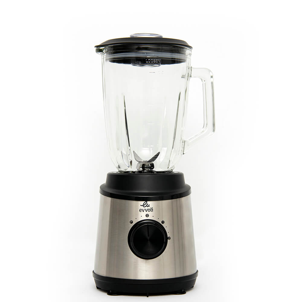 Evvoli Blender With Glass Jar 1.5Liter 2 Speed With 1 Year Warranty Tanzania (EVKA-BL15MB Black/Silver/Clear)