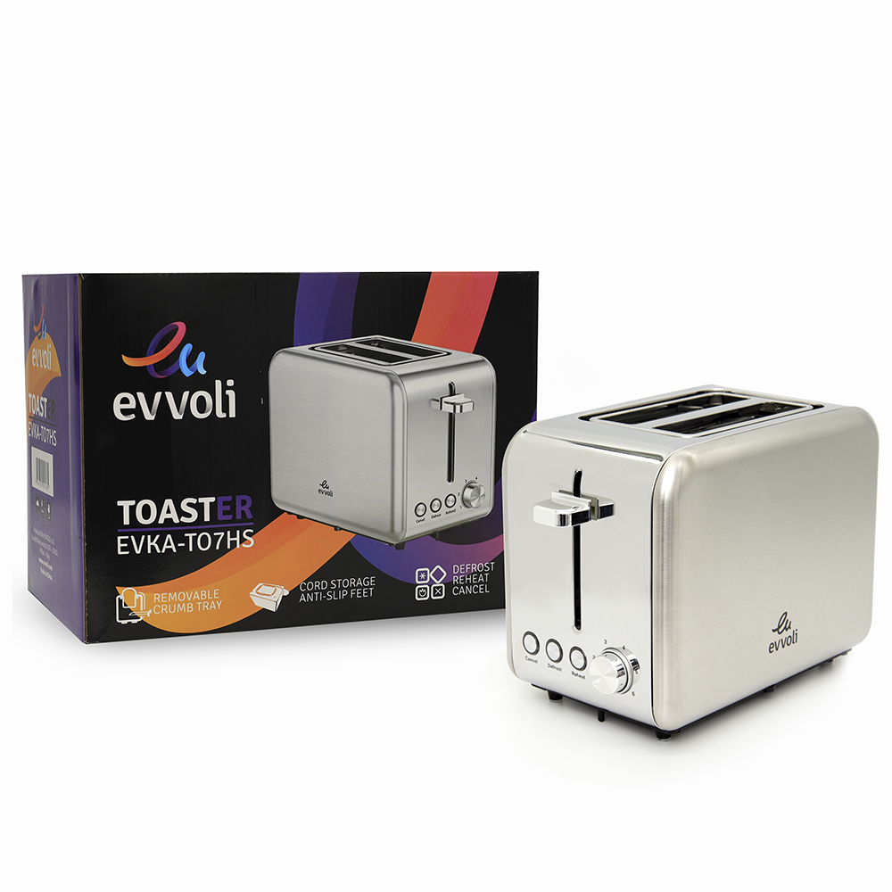 Evvoli 2 Slice Toaster With 6 Settings Stainless Steel Removable Crumb Tray Tanzania EVKA-TO7HS